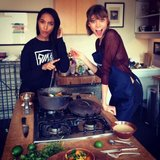 Jourdan Dunn and Karlie Kloss hit the kitchen together for their upcoming cooking segment with Life + Times. Source: Twitter user missjourdandunn