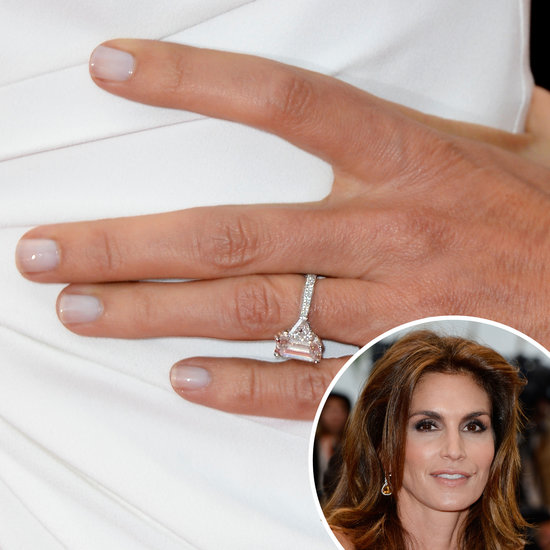 White on white was the plan for Cindy Crawford, who wore a sheer snow manicure to match her ivory dress.
