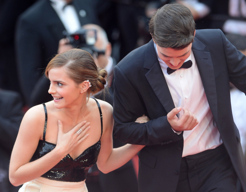 Emma Watson got help going up the stairs.