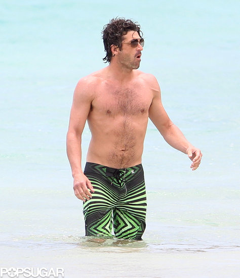 Patrick Dempsey showed off his abs in the water while vacationing in the Caribbean.
