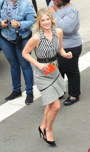 Ali Larter was sassy in this Three Floor Hunky Dory dress ($210) and this Vince Camuto orange clutch ($158) while out in NYC.