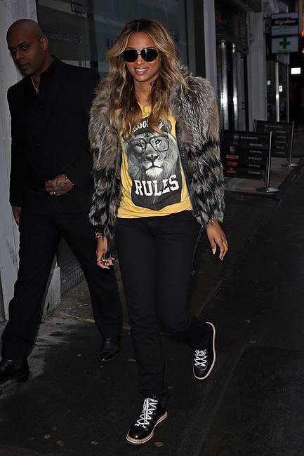 Ciara does downtown cool. Trainers and fur is a strong look, but she's got the 'tude to pull it off.