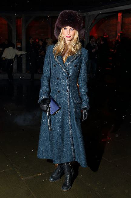 Poppy Delevingne does the Russian thing in a furry topper and long-line trench.