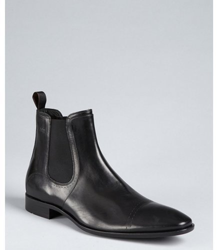 Hugo Boss Boss Hugo Boss black leather pull tab gusset side boots