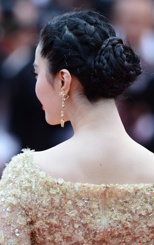 Fan Bingbing's formal updo was a series of twists and braids that coalesced into a chic chignon.