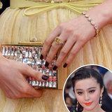 Fan Bingbing opted for an inky black manicure at the premiere of Jeune & Jolie.