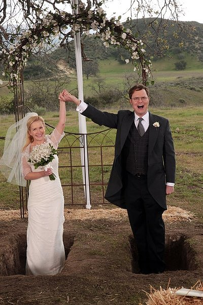 Dwight and Angela tie the knot in front of family, co-workers, and a lot of bales of hay.