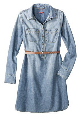Merona Women&#039;s Chambray Shirt Dress w/Belt - Blue