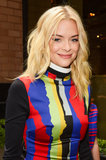 Jaime King was spotted in New York with her hair down in beach waves, but the standout element of her look was the blue winged eyeliner.