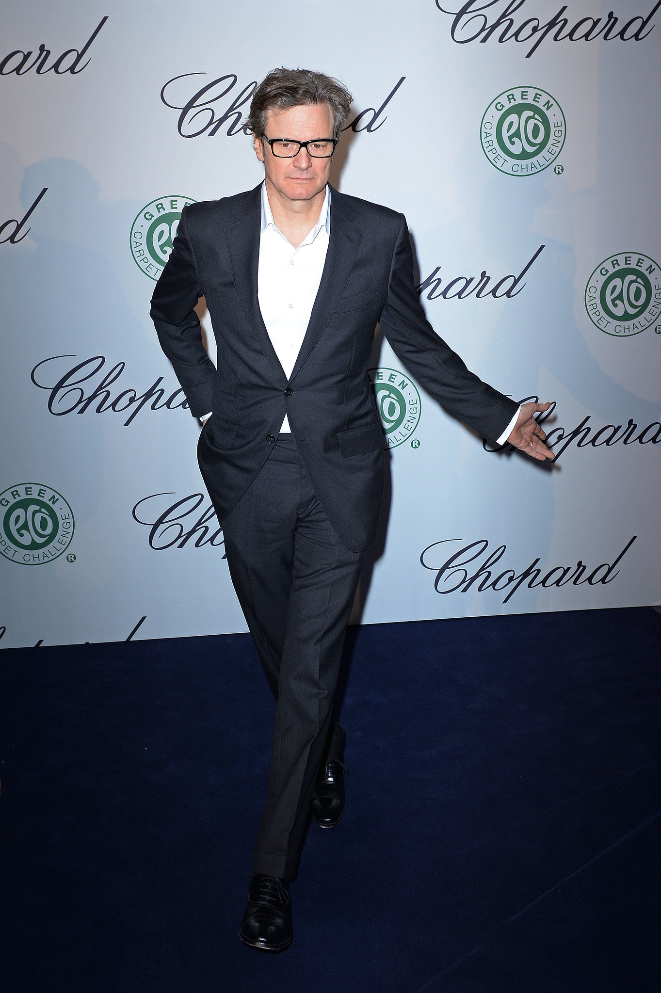Colin Firth joked with photographers on Friday at a Chopard event.
