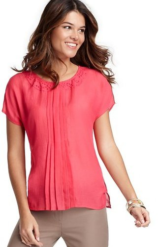 Eyelet Collar Button Back Blouse