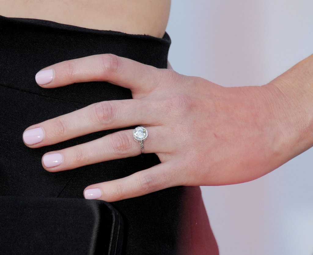 Alexis Bledel showed off her new engagement ring earlier this year, and the creamy soft pink polish she wore with it was the perfect complement.