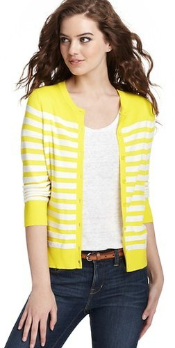Striped 3/4 Sleeve Cardigan