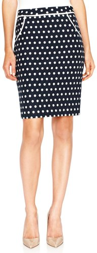 Polka Dot Jacquard Pencil Skirt