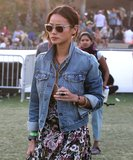 Jamie Chung hit up Coachella in a floral dress, denim jacket, and clear Carrera sunglasses. To get her cool-girl look, wear these Illesteva clear sunglasses ($230).