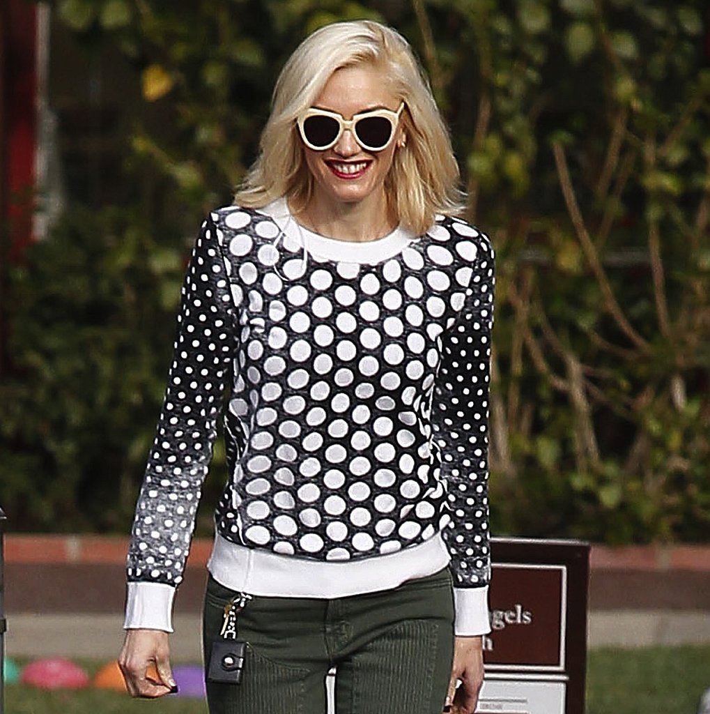 Gwen Stefani owns the same pair of Karen Walker shades in vanilla ($250) and wore them with her Michael Kors dotted sweater while dropping her kids off at school.
