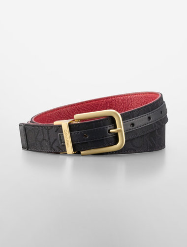 Black Reversible Logo + Faux Pebbled Leather Belt