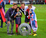 David Beckham brought his boys — Brooklyn, Romeo, and Cruz — onto the Paris Saint-Germain field for his last home game.