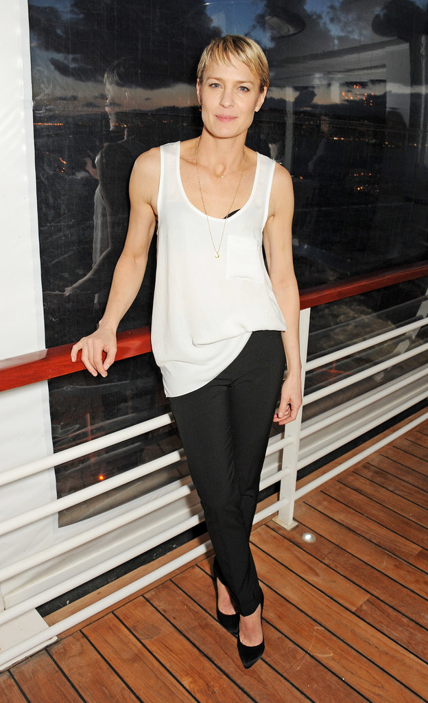 Robin Wright looked sophisticated and easy in a white tank and black trousers while celebrating at Finch's Quarterly Review's Filmmakers Dinner.
