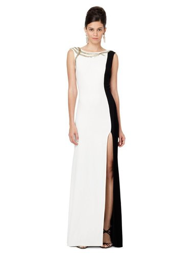 V-Neck Slim Gown With Embroidered Trim