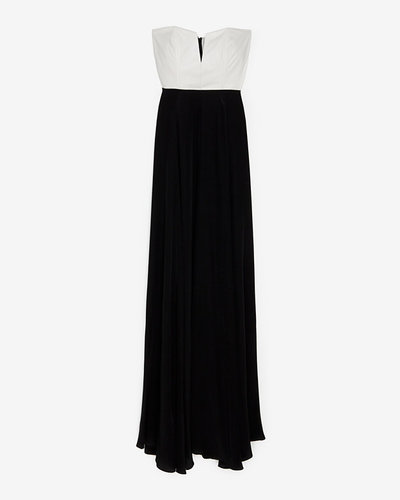Mason By Michelle Mason Mason Exclusive Leather Corset Silk Maxi Dress
