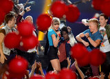 """Balloons filled the air during Taylor Swift's performance of """"22."""""""