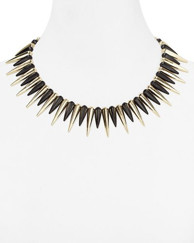 Cara Accessories Black Spike Necklace, 14""