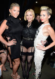 Madonna shared a moment with Ke$ha and Miley Cyrus backstage at the Billboard Music Awards in Las Vegas.