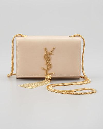 Saint Laurent Cassandre Small Tassel Crossbody Bag, Off White