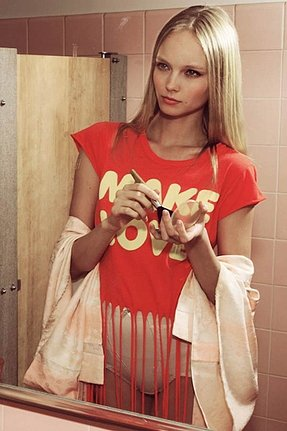 Wildfox Couture Make Love Festival Fringe Tee in Free Love Red