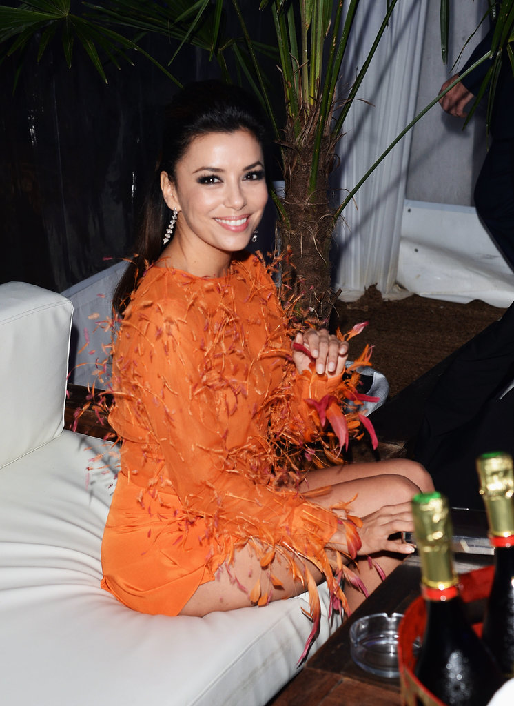 Eva Longoria rocked a bright fringe number for the Global Gift Gala in Cannes on Sunday evening.