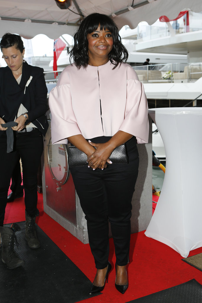 Octavia Spencer's pink Tadashi Shoji capelet completely transformed her all-black look at the Cannes Film Festival.