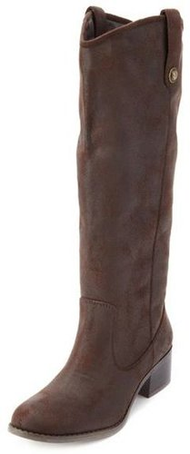 Distressed Mid-Calf Riding Boot