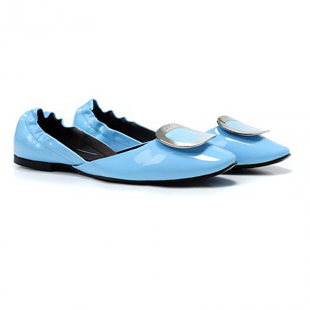 ROGER VIVIER BLUE CUT-OUT FLAT BALLETS FLATS