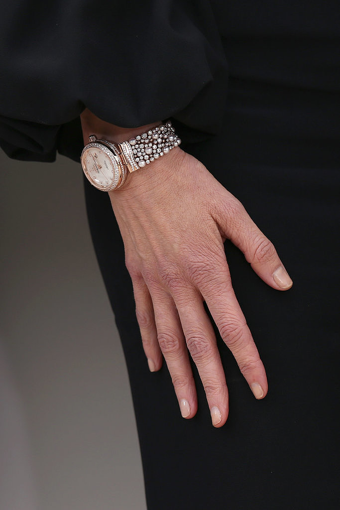 Nicole Kidman wore a diamond-and-pearl-encrusted watch.