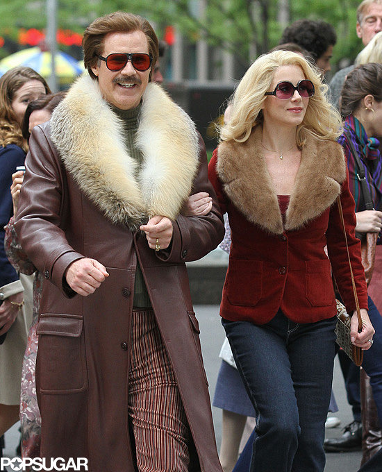 Will Ferrell and Christina Applegate filmed Anchorman: The Legend Continues in NYC.