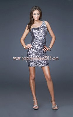 Glittering Jewels Embellished Short Prom Dresses with One Strap