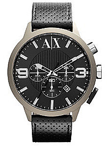 AX Armani Exchange A|X Armani Exchange Black/Tan Men's Black Leather Watch with Tan Coated Case
