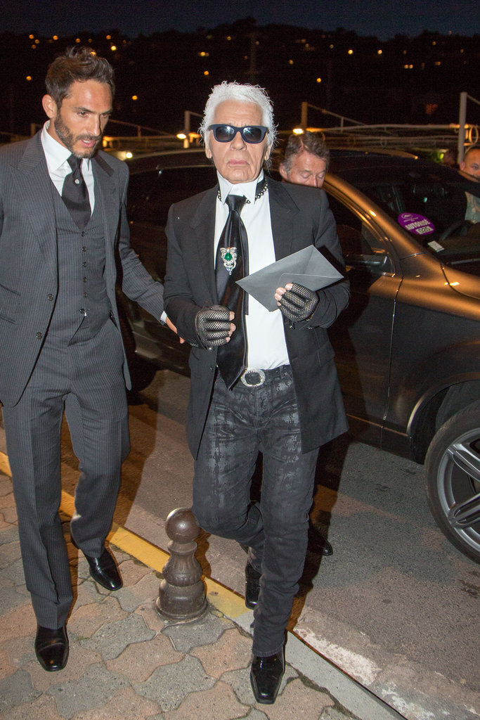 Sebastien Jondeau and Karl Lagerfeld at Vanity Fair and Chanel's dinner in Cannes.