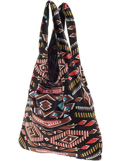 This tribal-print bag is the perfect size to help tote everything a gal might need at the beach or even across the city. I love this particular mix of prints. They add some fun and color to any casual outfit at a great price. See more Style Shortcuts