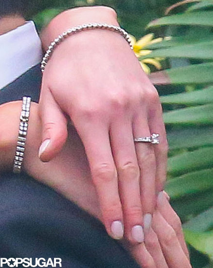 Katrina Bowden and Ben Jorgensen showed off their wedding rings.