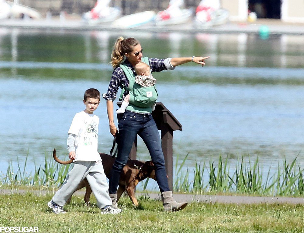 Gisele Bündchen went for a walk in a Boston park with Jack and daughter Vivian on Sunday.