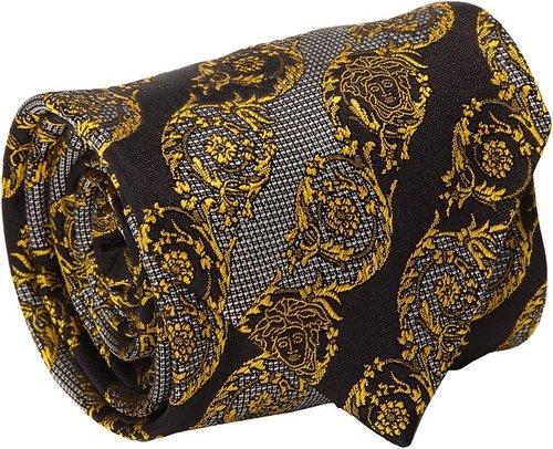 Versace - Medusa Plumed Circle Tie (Black/Gold) - Accessories