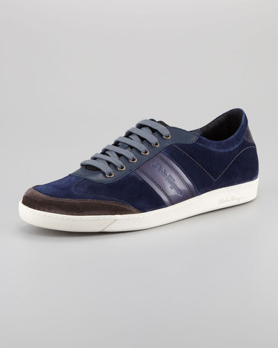 Salvatore Ferragamo Marling Low-Top Suede Sneaker, Blue