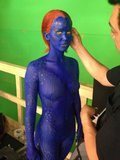 Jennifer Lawrence suited up for her role as Mystique. Source: Twitter user BryanSinger