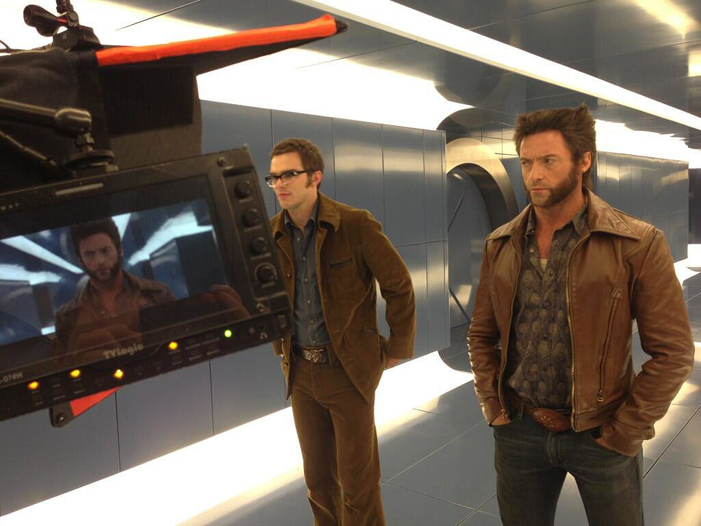 "Of this shot of Nicholas Hoult (Beast) and Hugh Jackman (Wolverine), Singer tweeted, ""Welcome to 1973."" Source: Twitter user BryanSinger"