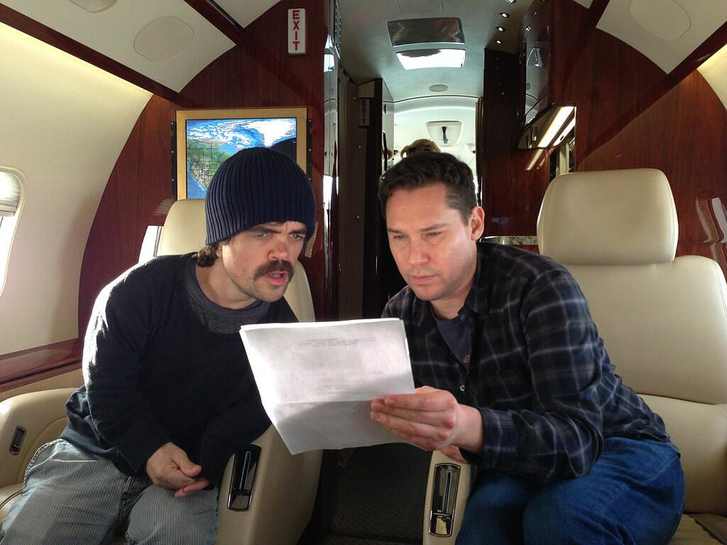 Peter Dinklage, who is new to the franchise, ran lines with Singer on the go. Source: Twitter user BryanSinger