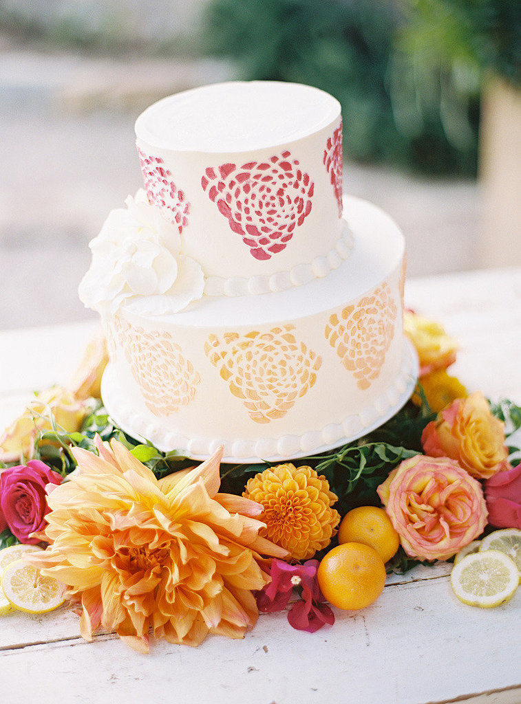The watercolor details on this cake are so unexpected and fun — what else could you ask of your wedding-day dessert?  Photo by Ryan Ray Photography via Style Me Pretty