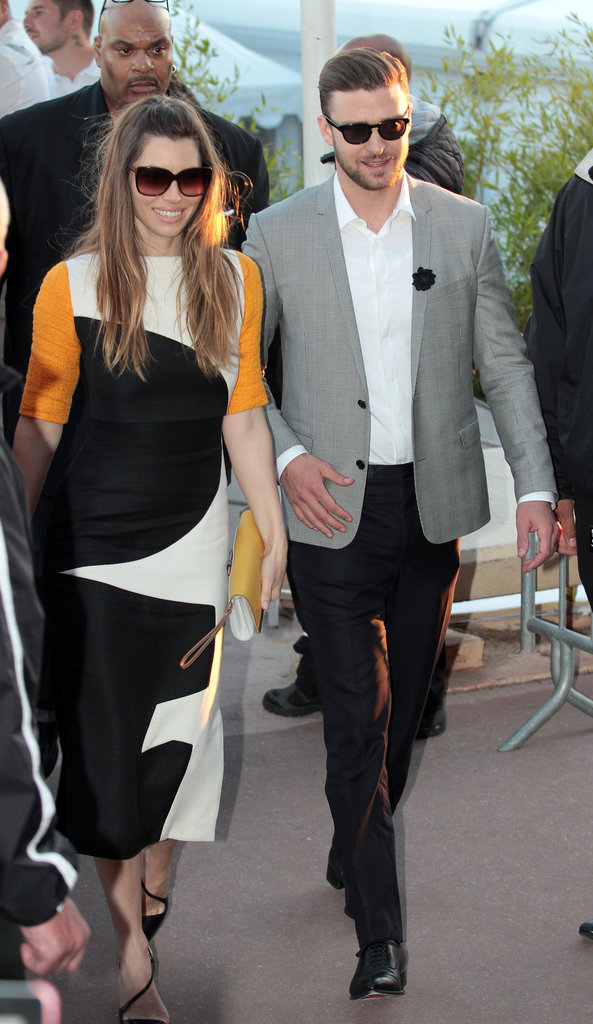 Jessica Biel donned a striking colorblocked dress, a matching yellow clutch, and Christian Louboutin pumps while walking alongside Justin Timberlake in Cannes.