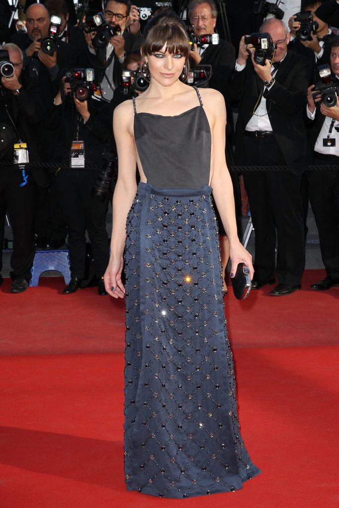 Milla Jovovich in Prada at the Cannes premiere of Cleopatra.